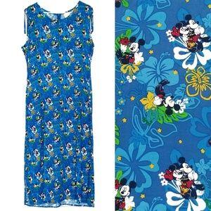Disney women's blue Mickey and Minnie maxi dress